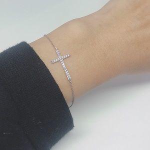 .925 Sterling Silver CZ Cross Bracelet